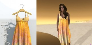 Iris Mesh Summer Orange Dress Wearable Demo Promo by DragansVarg - Teleport Hub - teleporthub.com