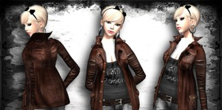 Retro Leather Jacket Brown for Female by >POISON< - Teleport Hub - teleporthub.com