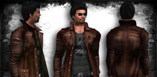 Retro Leather Jacket Brown by >POISON< - Teleport Hub - teleporthub.com