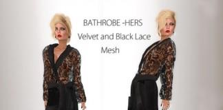 Bathrobe Hers Velvet and Black Lace - Teleport Hub - teleporthub.com