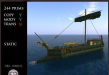 Gorean Pirate Ship Static Model by Ars Navalis - Teleport Hub - teleporthub.com