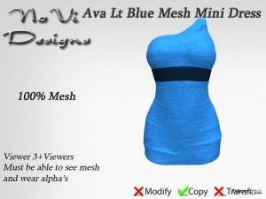 Ava Light Blue Mini Dress by NoVi Designs - Teleport Hub - teleporthub.com