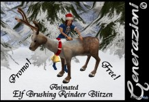 Animated Elf Brushing Reindeer Blitzen by Generazioni - Teleport Hub - teleporthub.com