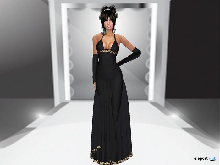 Black Satin Gown Formal Dress by Zennya's Closet - Teleport Hub - teleporthub.com