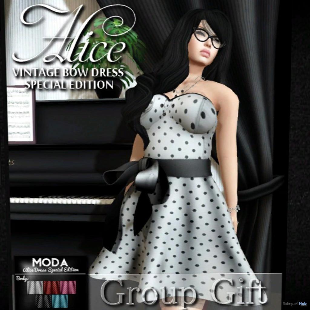 Alice Vintage Bow Dress With HUD Group Gift by MODA - Teleport Hub - teleporthub.com
