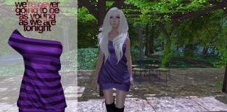 All Nighter Dress Purple Stripes 1L Promo by Statement - Teleport Hub - teleporthub.com