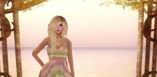 Chrissy Dress Pink Stripe 1L Promo by Rainbow Rose - Teleport Hub - teleporthub.com