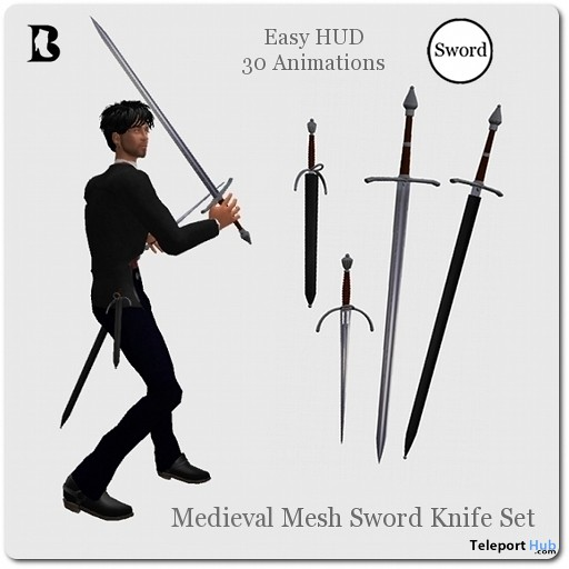 Medieval Mesh Sword Knife Set with Animations HUD by Vlad Blackburn - Teleport Hub - teleporthub.com