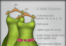Mesh Dresses Pink Green Lime With Applier 1L Promo by Soul - Teleport Hub - teleporthub.com
