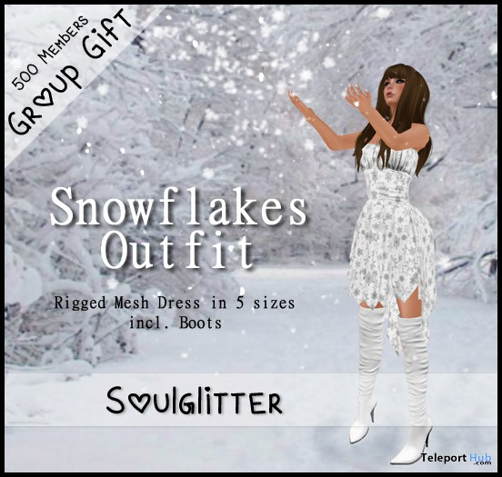 Snowflake Outfit and Boots Group Gift by Soulglitter - Teleport Hub - teleporthub.com