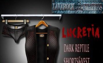 Lucretia Dark Reptile Short Vest Group Gift by Lavarock Creations - Teleport Hub - teleporthub.com