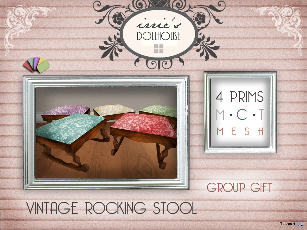 Vintage Rocking Stool Group Gift by irrie's Dollhouse - Teleport Hub - teleporthbub.com