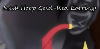 Mesh Hoop Gold-Red Earrings Group Gift by Kamiri - Teleport Hub - teleporthub.com