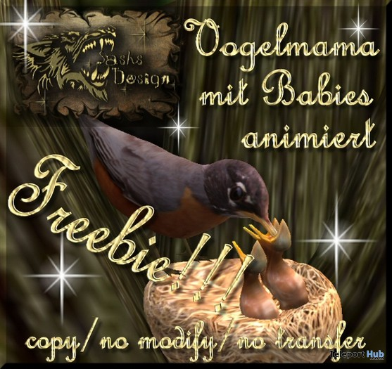 Animated Bird with Best and Babies by Sash Silverfall - Teleport Hub - teleporthub.com