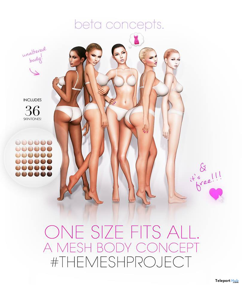 Mesh Body One Size Fits All 36 Skin Tones by The Shops - Teleport Hub - teleporthub.com