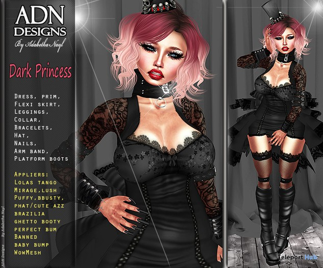 Dark Princess Outfit with Appliers 1L Promo by [AdN] designs  - Teleport Hub - teleporthub.com