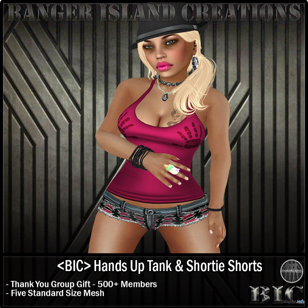 Hands Up Tank Top and Shortie Shorts by Banger Island Creations - Teleport Hub - teleporthub.com