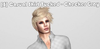 [S] Casual Shirt Tucked Checker Gray Teleport Hub Group Gift by [satus Inc] - Teleport Hub - teleporthub.com