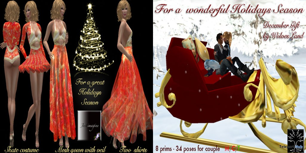 Dress and Christmas Sledge Group Gift by Just Imagine and Wolves Land - Teleport Hub - teleporthub.com
