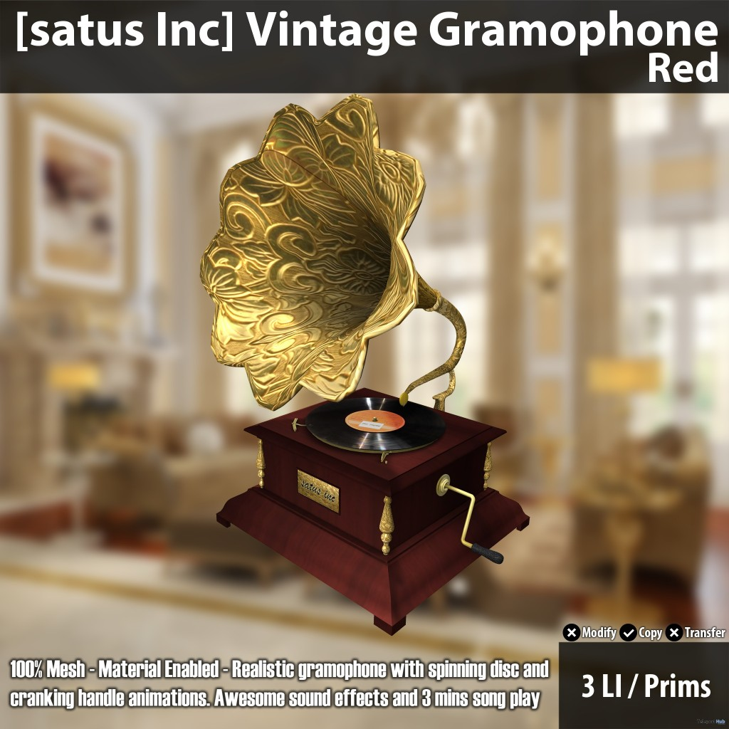 New Release: Vintage Gramophone by [satus Inc] - Teleport Hub - teleporthub.com