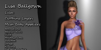 Lisa Ballgown Lilac with Mesh Body Appliers Group Gift by Kamiri - Teleport Hub - teleporthub.com