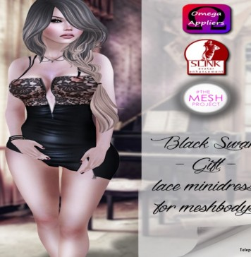 Lace Mini Dress with Mesh Body Appliers Group Gift by Black Swan - Teleport Hub - teleporthub.com