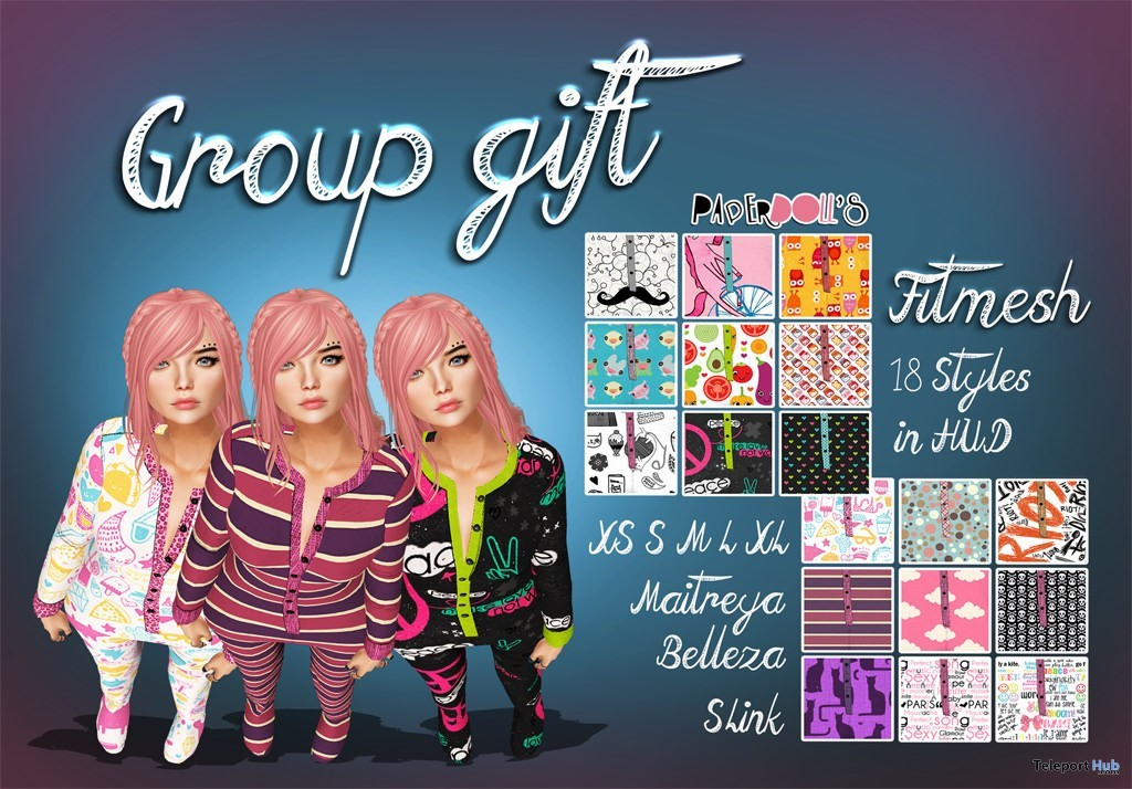 Pyjamas with 18 Styles HUD November 2015 Group Gift by Paperdoll's - Teleport Hub - teleporthub.com