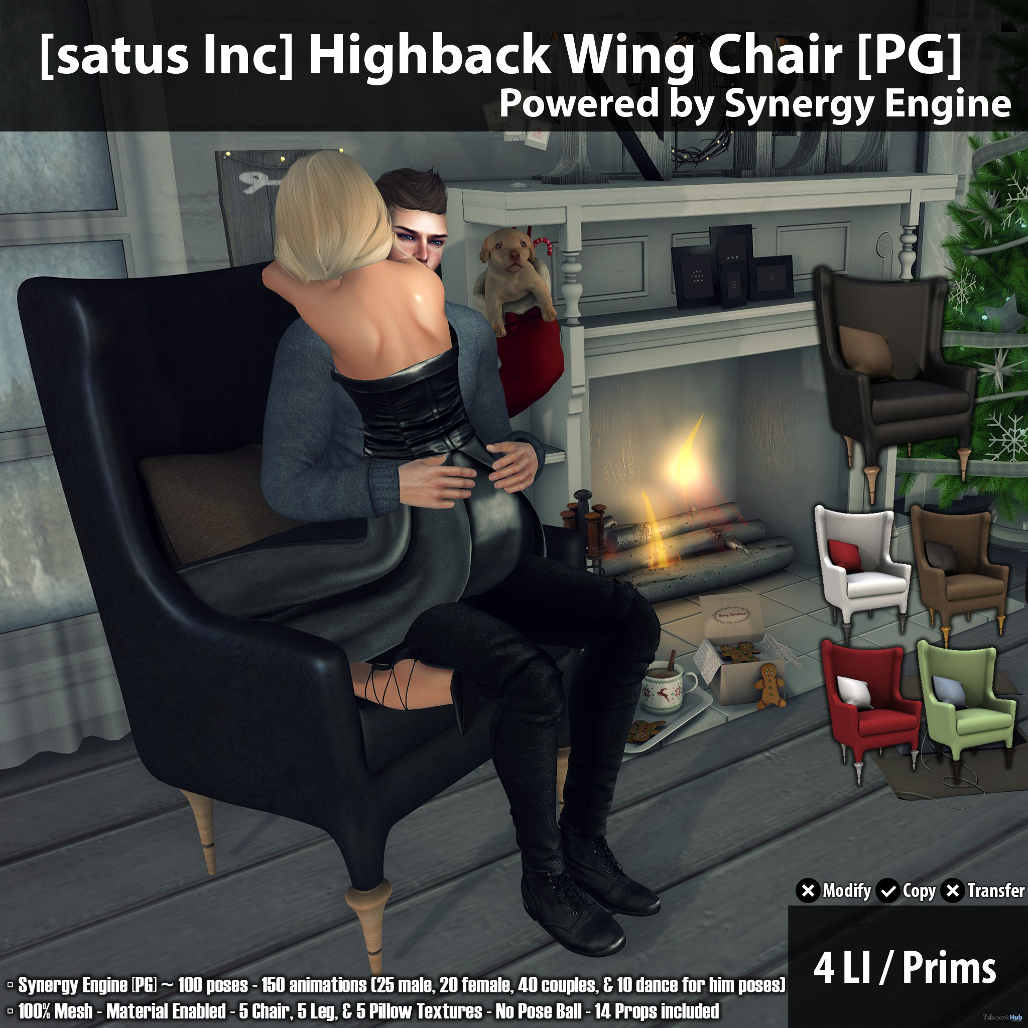 New Release: Highback Wing Chair [Adult] & [PG] by [satus Inc] - Teleport Hub - teleporthub.com