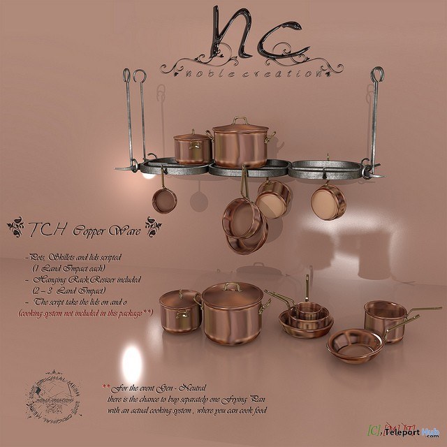 New Release: Chef's House Copper Ware by Noble Creations - Teleport Hub - teleporthub.com