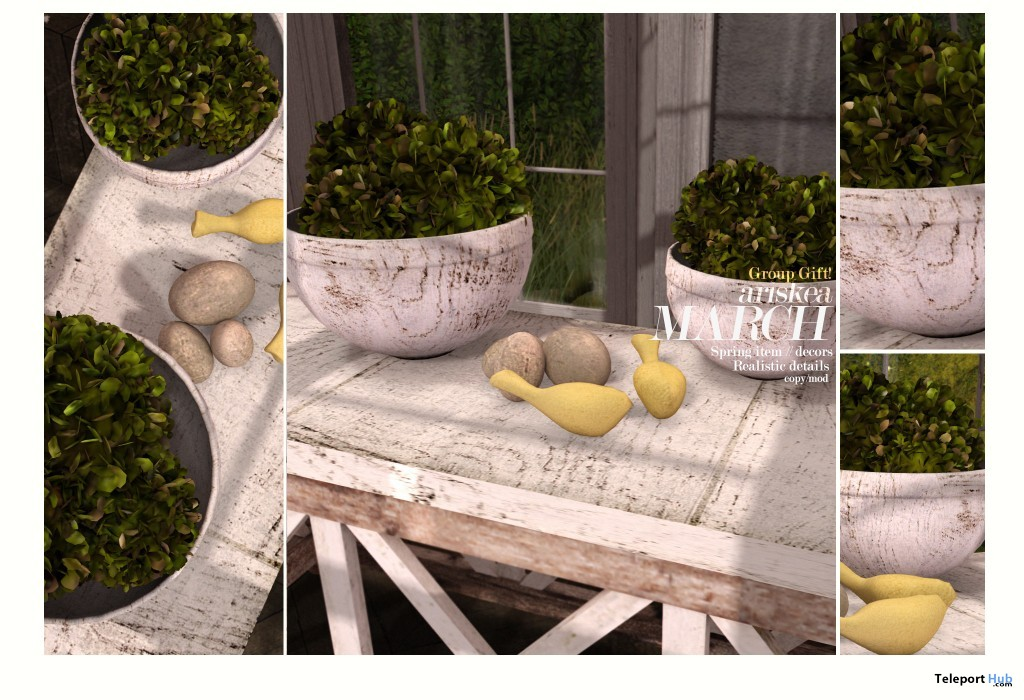 Birdy, Eggs & Bushy Plant March 2016 Group Gift by Ariskea - Teleport Hub - teleporthub.com