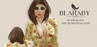 Floral Wrap Shirt With Zip Mini Shorts Outfit 99L Promo by BLARABY - Teleport Hub - teleporthub.com