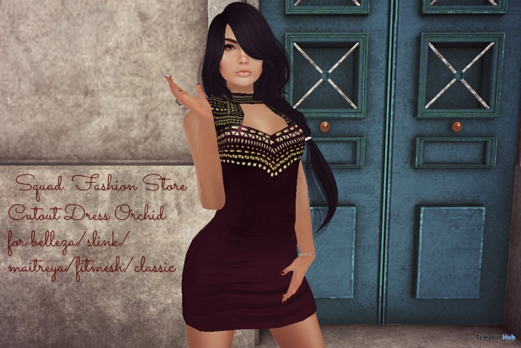 Cutout Dress Orchid With Appliers March 2016 Group Gift by SQUAD Fashion - Teleport Hub - teleporthub.com
