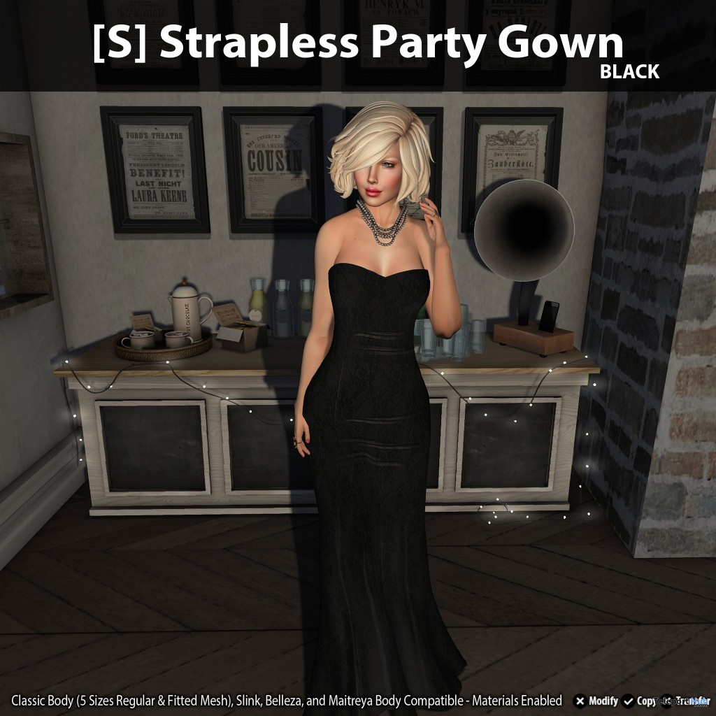 New Release: [S] Strapless Party Gown by [satus Inc] - Teleport Hub - teleporthub.com