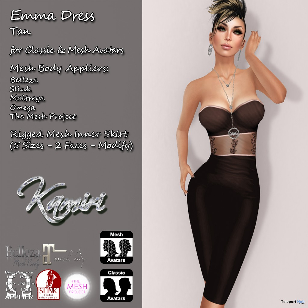 Emma Dress With Mesh Body Appliers Group Gift by Kamiri - Teleport Hub - teleporthub.com