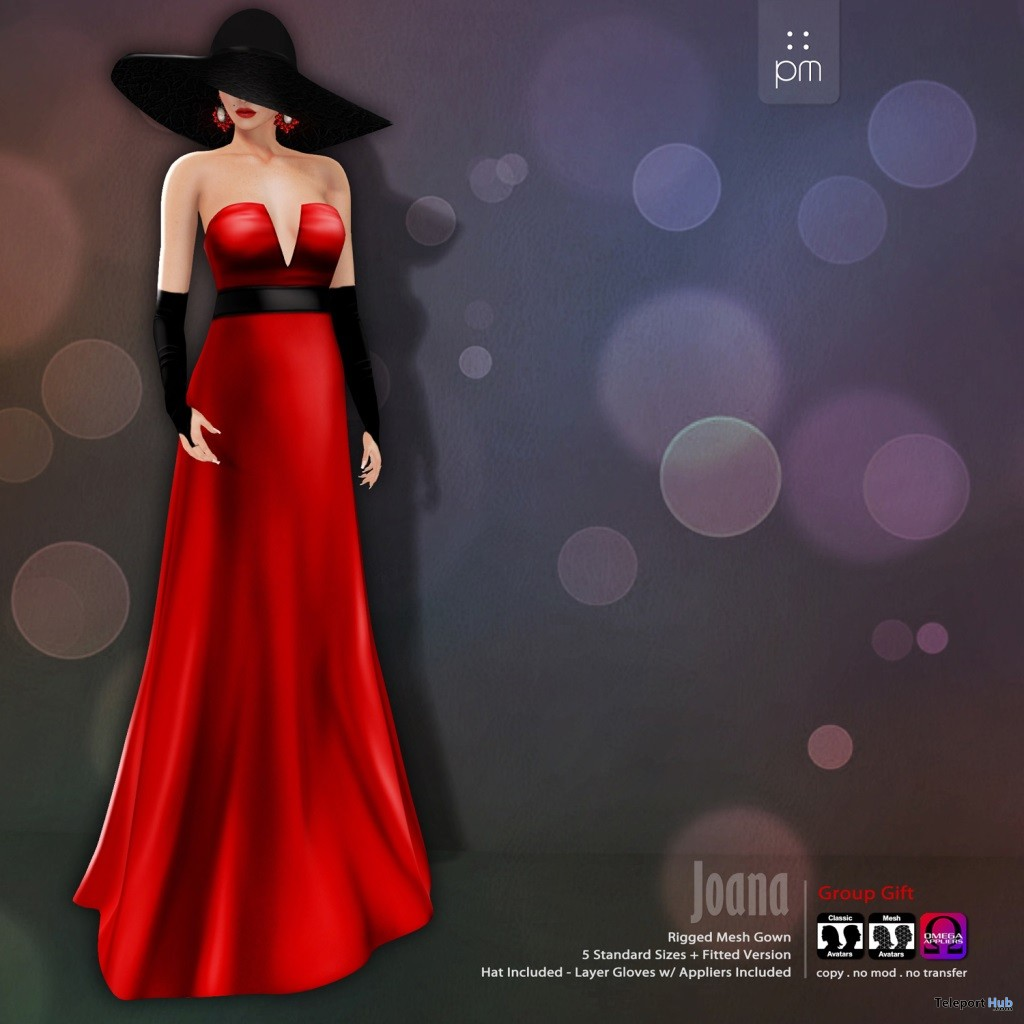 Red Joana Gown Group Gift by PurpleMoon - Teleport Hub - teleporthub.com
