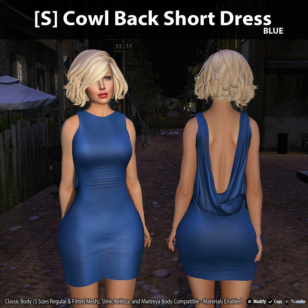 New Release: [S] Cowl Back Short Dress by [satus Inc] - Teleport Hub - teleporthub.com
