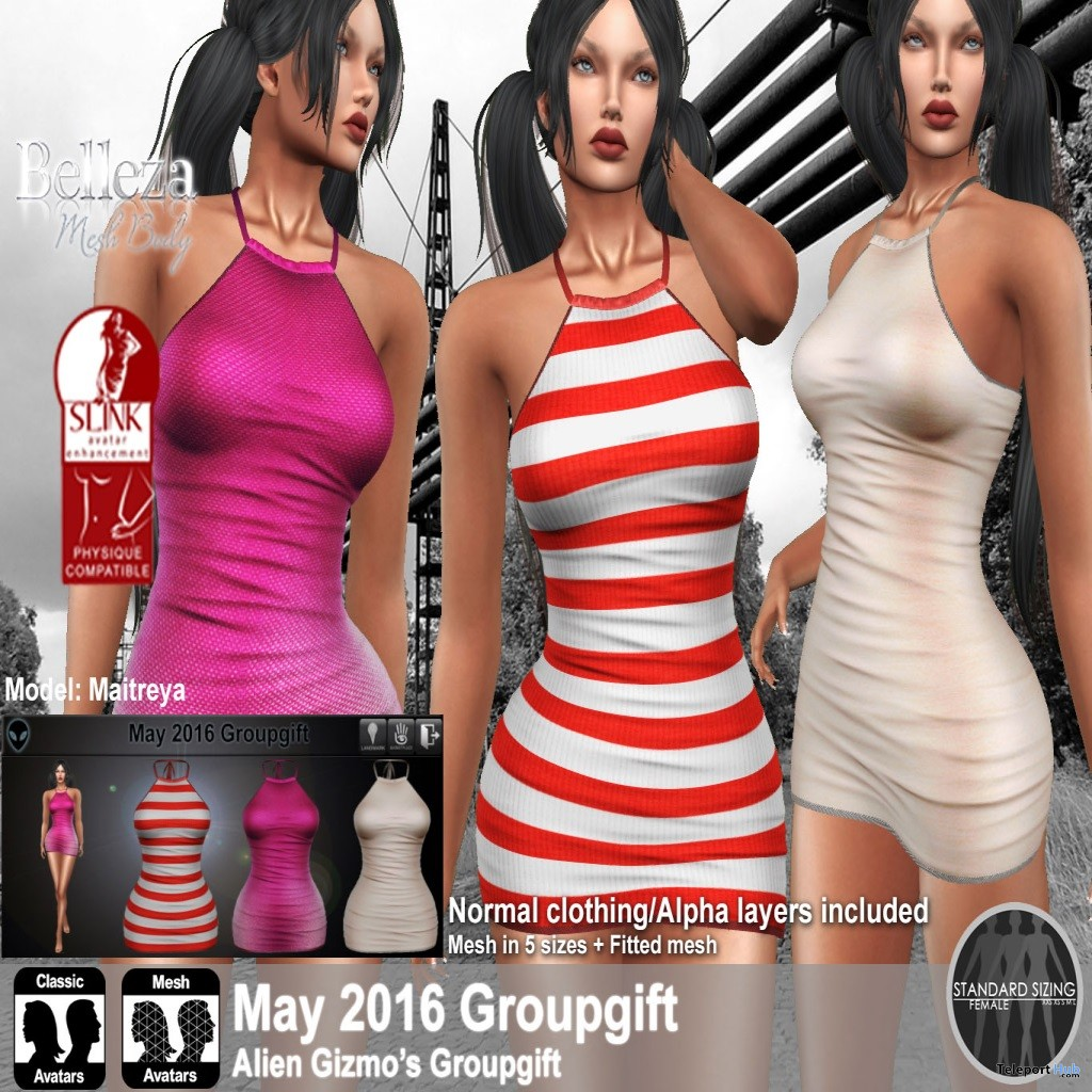 Mini Dress With Textures HUD May 2016 Group Gift by Alien Gizmo - Teleport Hub - teleporthub.com