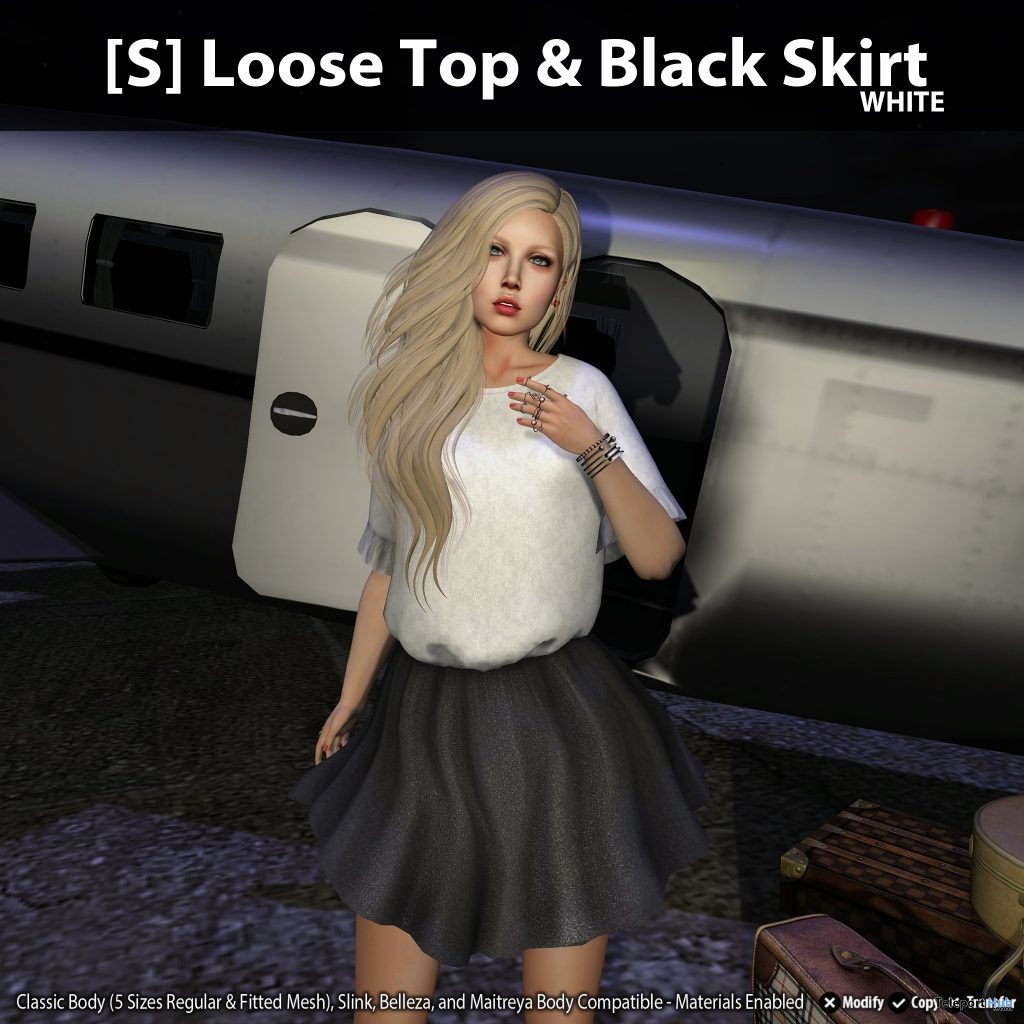 New Release: [S] Loose Top & Black Skirt by [satus Inc] - Teleport Hub - teleporthub.com