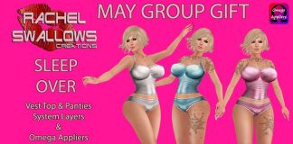 Sleep Over Outfit with Appliers May 2016 Group Gift by Rachel Swallows Creations - Teleport Hub - teleporthub.com