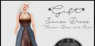 Sansa Dress Flower Red and Blue Group Gift by Beauty and Mirrors - Teleport Hub - teleporthub.com