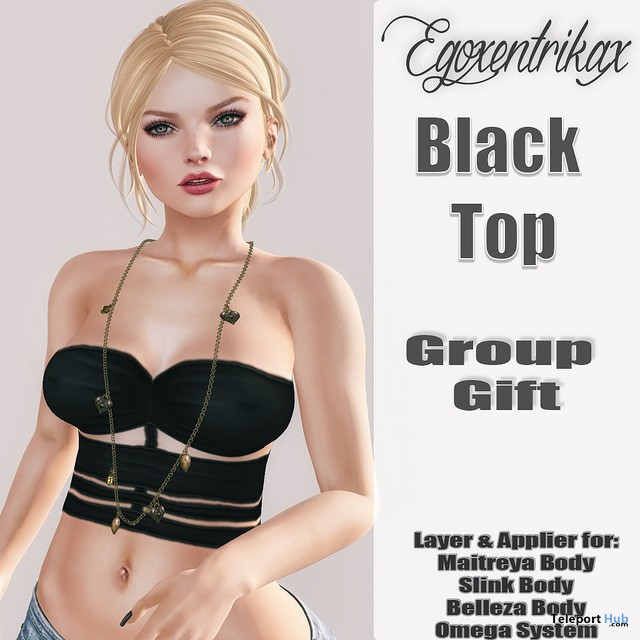 Black Top with Appliers June 2016 Group Gift by Egoxentrikax - Teleport Hub - teleporthub.com