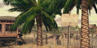 Caution Falling Coconuts Sign June 2016 Group Gift by hive - Teleport Hub - teleporthub.com