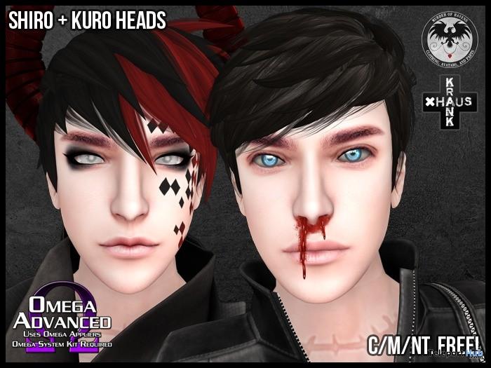 Shiro and Kuro Mesh Heads For Men Gift by Murder of Ravens - Teleport Hub - teleporthub.com