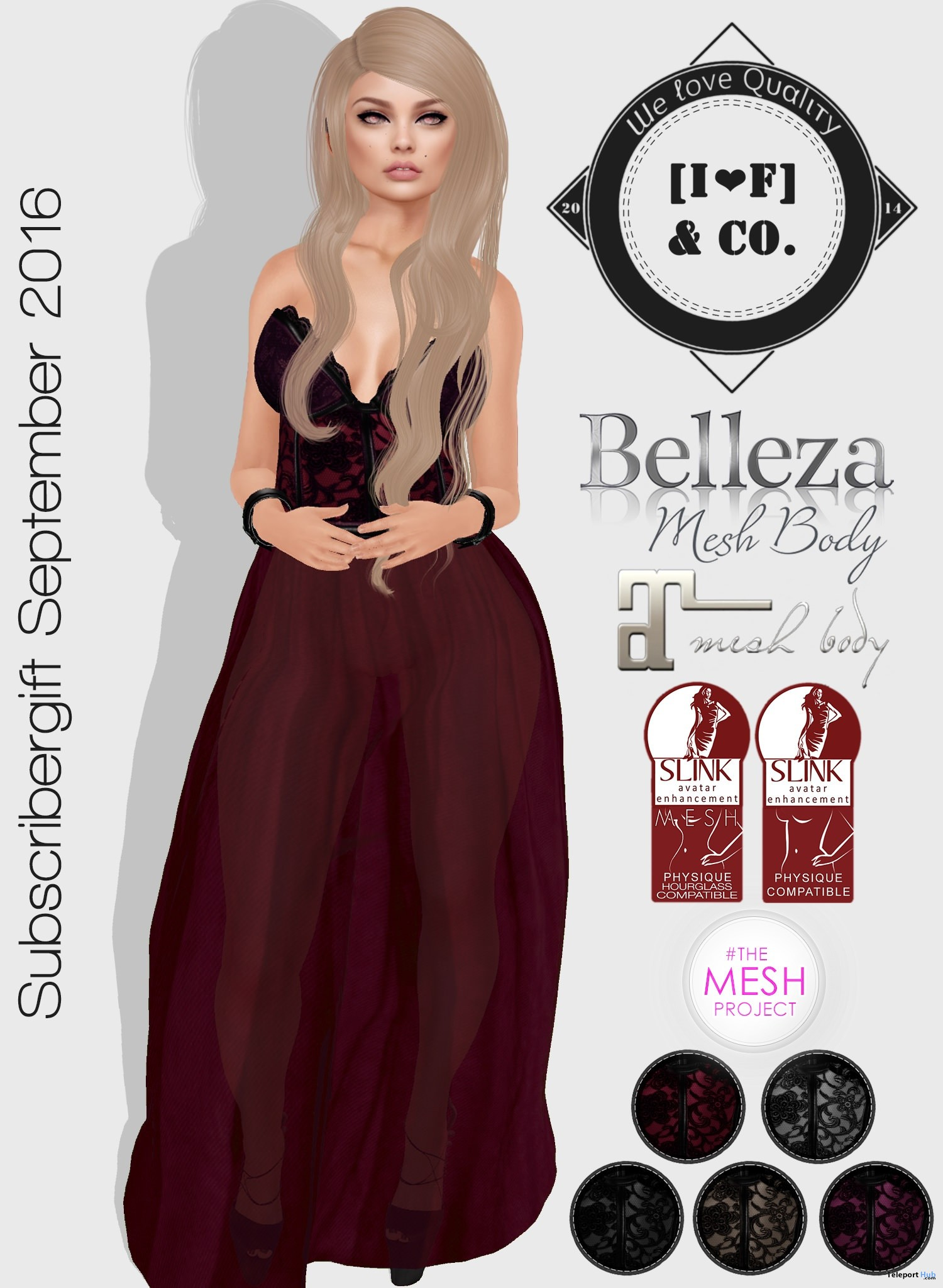 Long Dress 5 Colors September 2016 Subscriber Gift by I<3F & Co - Teleport Hub - teleporthub.com
