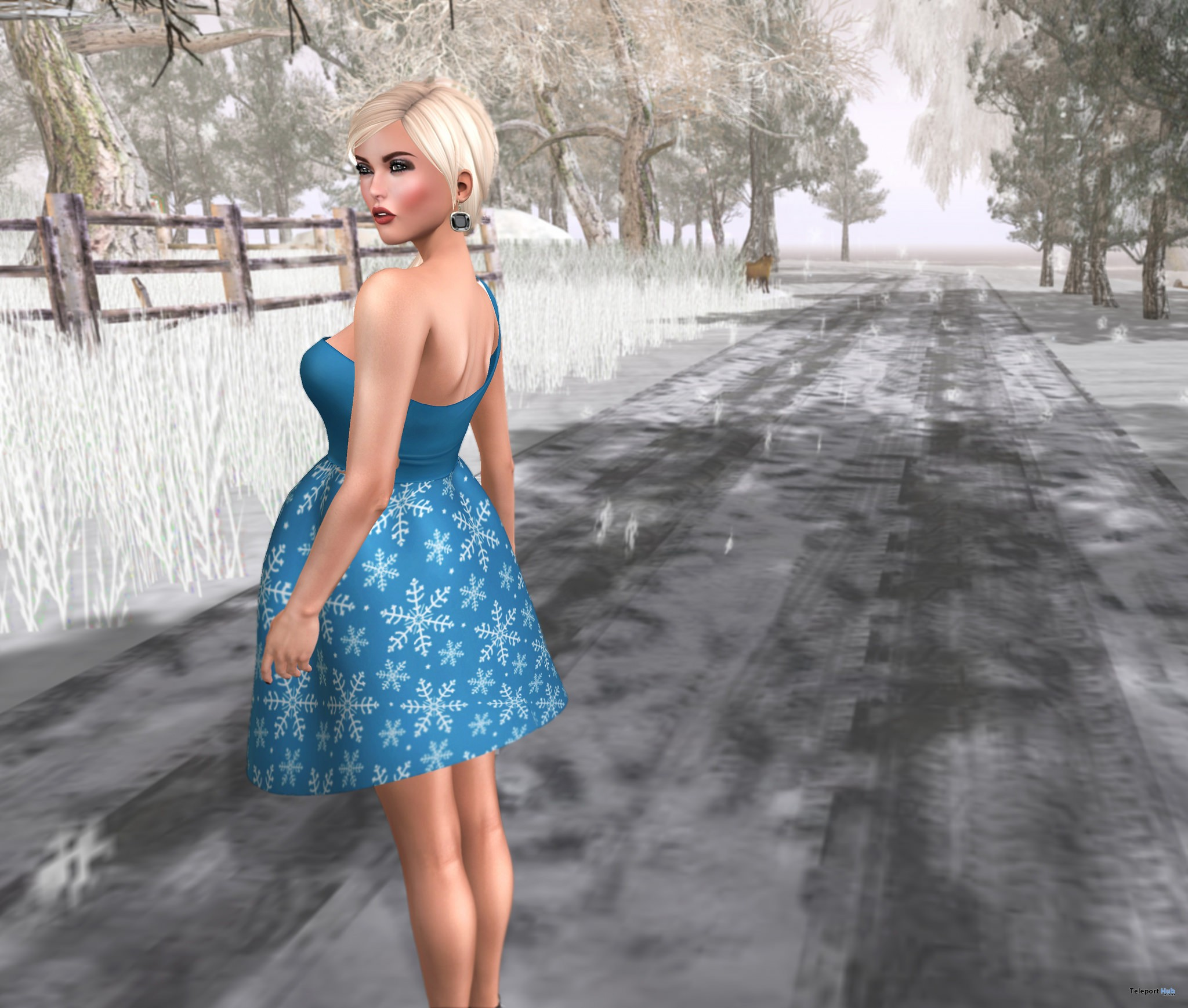 Snowflakes Shoulder Dress December 2016 Group Gift by #bubbles- Teleport Hub - teleporthub.com