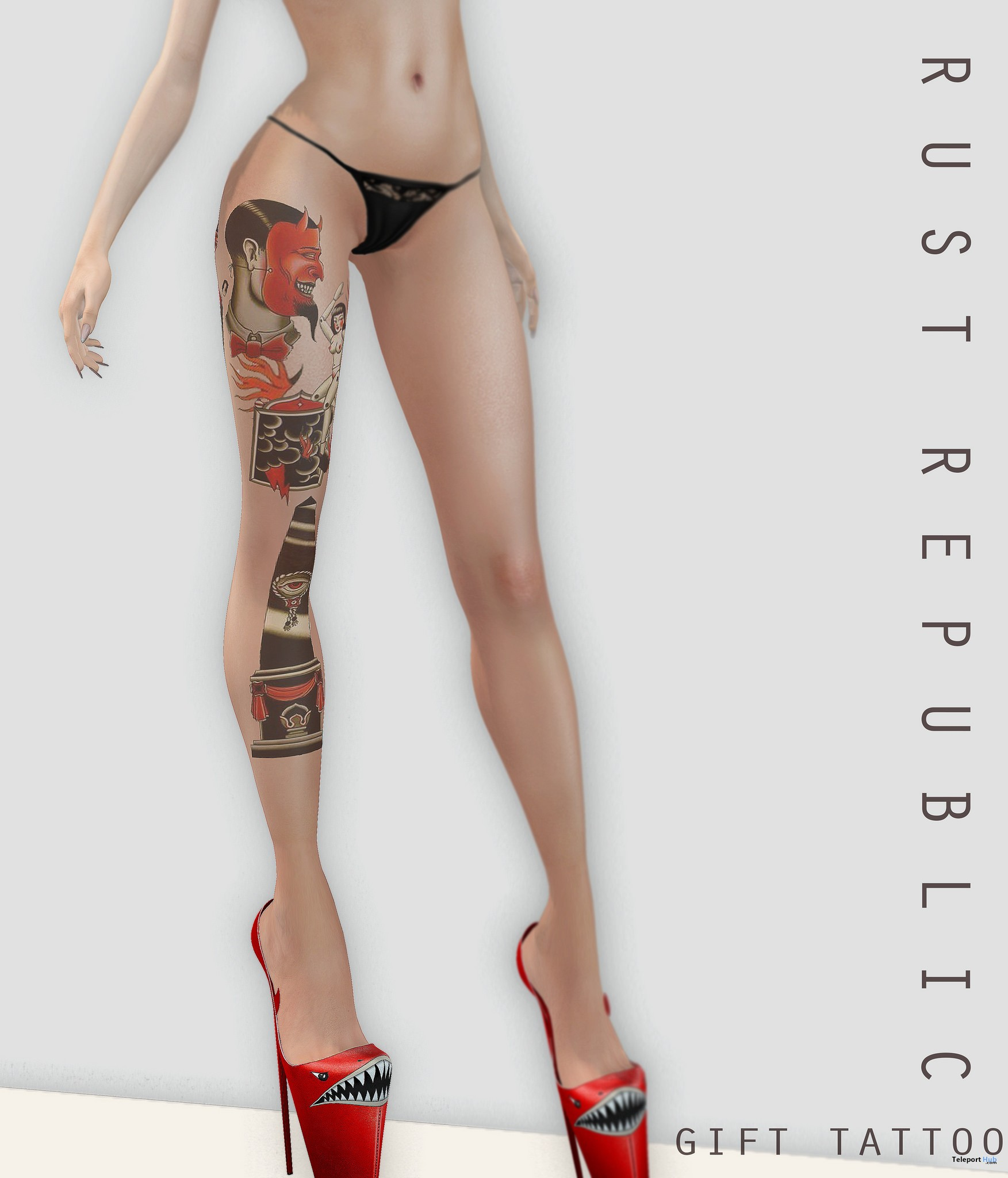 Red & Black Leg Tattoo 1L Promo Gift by Rust Republic - Teleport Hub - teleporthub.com