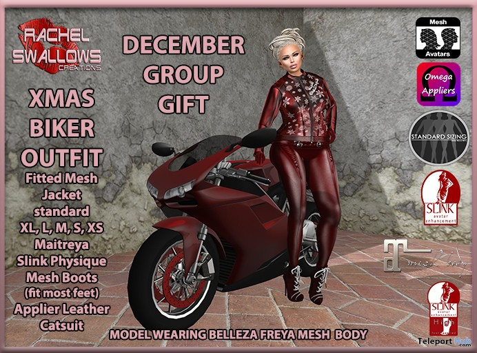 XMas Biker Outfit December 2016 Group Gift by Rachel Swallows Creations - Teleport Hub - teleporthub.com