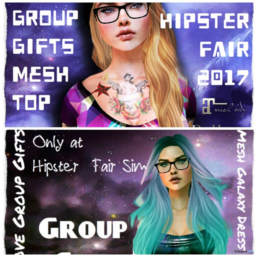 Hipster Female Crop Top & Galaxy Dress The Hipster Fair 2017 Group Gift by Gypsy Chic - Teleport Hub - teleporthub.com