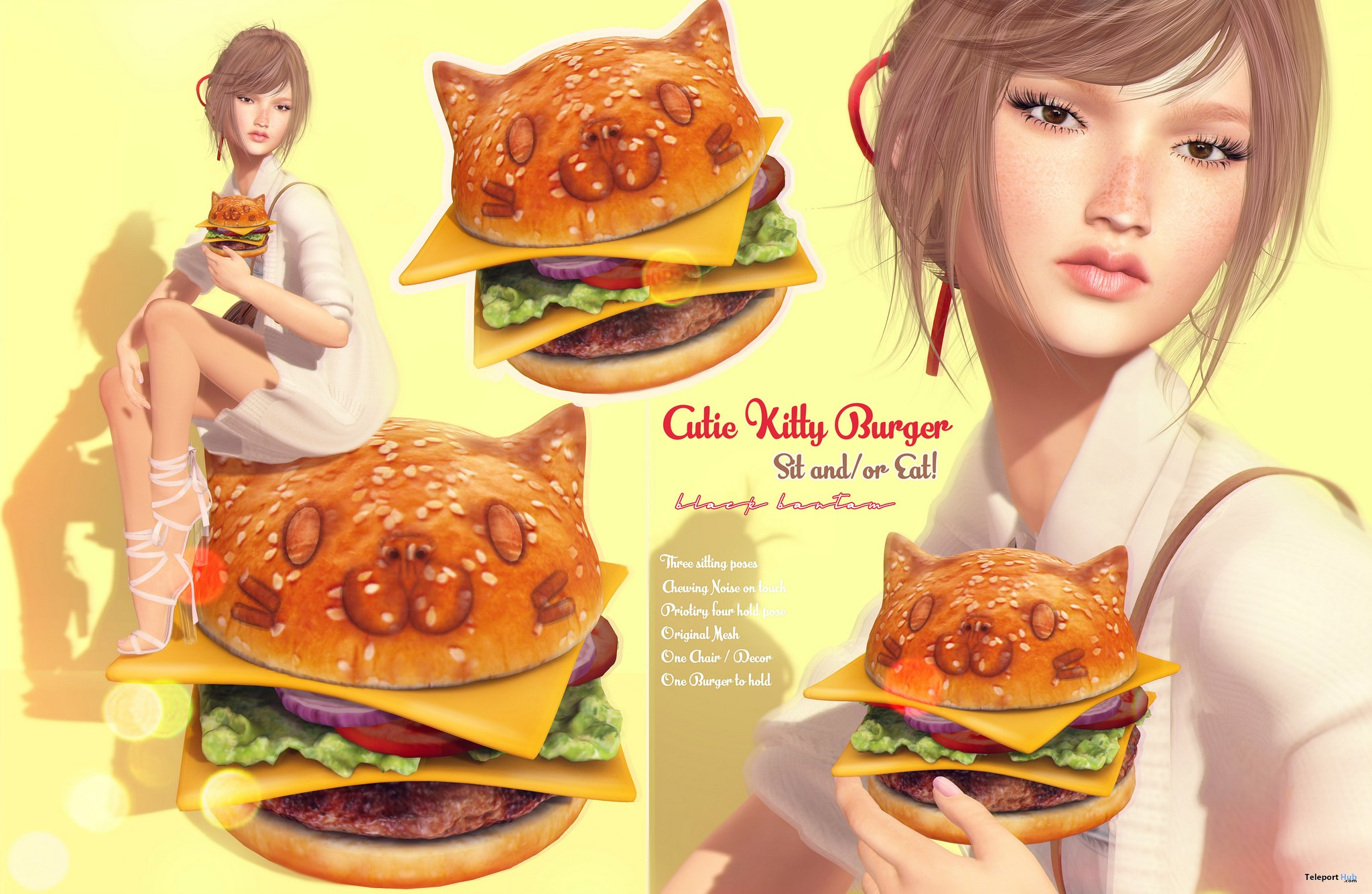 New Release: Cutie Kitty Hamburger Set by Black Bantam - Teleport Hub - teleporthub.com
