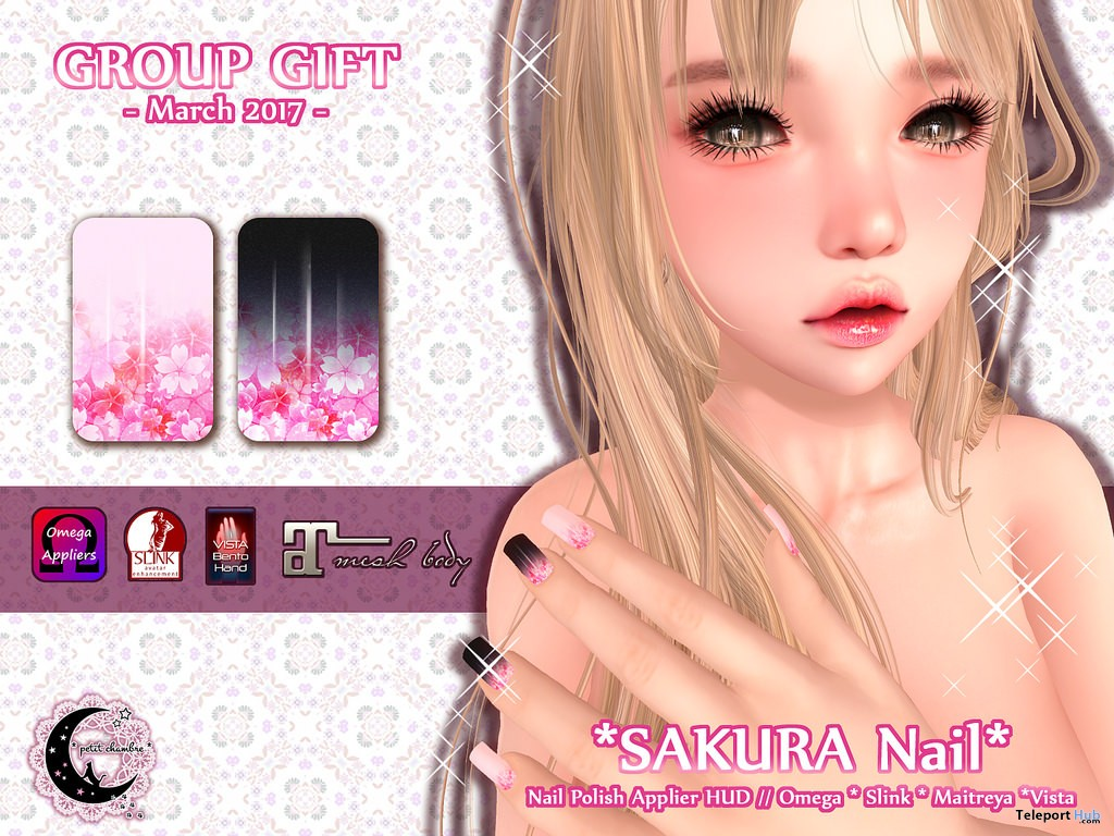 Sakura Nail Appliers March 2017 Group Gift by petit chambre - Teleport Hub - teleporthub.com
